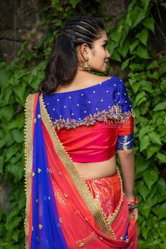 "Teja Sarees recently launched their beautiful wedding bridal lehenga collection ""Sampradaya"". Hand embroidered blouse designs get your look right highlighting the back and neckline. Half Saree Designs, Saree Blouse Neck Designs, Fancy Blouse Designs, Bridal Blouse Designs, Blouse Patterns, Cut Work Blouse, Amazing, Awesome, Teja Sarees"