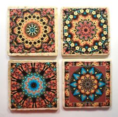 Travertine Tile Coaster Set  Earthy Morocco