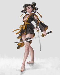Kai Fine Art is an art website, shows painting and illustration works all over the world. Samurai Girl, Female Samurai, Female Ninja, Female Character Design, Character Design Inspiration, Character Art, Chica Fantasy, Fantasy Girl, Samurai Clothing