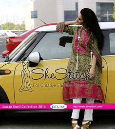 OLT-168 of Sawan Embroidered Kurti Collection 2014 by Orient Textile is comprises of front embroidered and printed back shirt along with printed sleeves. It is olive green colored kurti.