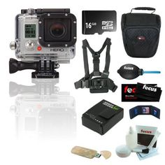 GoPro HERO3 HD Silver Edition Camera 16 GB Bundle including: 3 Pocket memory card Case, GoPro Chest Mount Harness, Micro SD Secure Digital Card Reader, 16GB Micro Sd Card, Camera Bag, Cleaning Kit and Wasabi Battery Pack for Hero 3 Camera