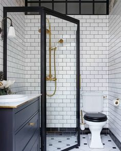 By mixing different kind of tiles you can create an exclusive look to your bathroom. Upstairs Bathrooms, Basement Bathroom, White Bathroom, Small Bathroom, Small Luxury Bathrooms, Bath Board, Studio Interior, Classic House, Home Decor