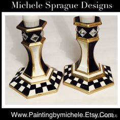 Painted glass candlestick // whimsical by MicheleSpragueDesign