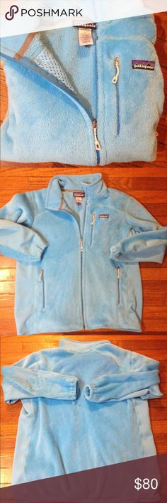 Patagonia Light blue Patagonia Fleece full zip front women's size XL very very soft similar to retool excellent like new worn once no holes piling or blemishes still has barb thing leftover from tag Patagonia Sweaters