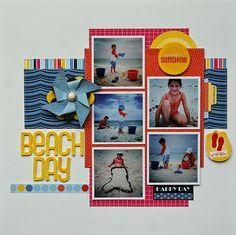 #papercraft #scrapbook #layout Multi Photos Beachday LO