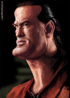 Caricatura de Steven Seagal.