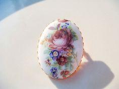 Vintage Victorian Style Ceramic Flower by PaganCellarJewelry, $9.95