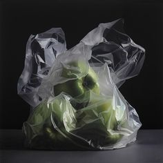 Untitled (Green Apples), oil on canvas, Pedro Campos (hyperrealist)