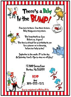 Dr Seuss Cat In The Hat Inspired Baby Shower Invitation Ashley