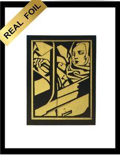 REAL METALLIC  ART DECO GOLD FOIL WALL ART PRINT TAMARA DE  LEMPICKA 1929 #ARTDECO