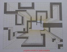 prospettiva centrale con griglia prospettica