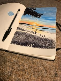 Ball pen and acrylic work on Inspired by a sunset on the beach of my life Moleskine, Ocean, Photo And Video, Sunset, Inspired, Day, Beach, Painting, Life
