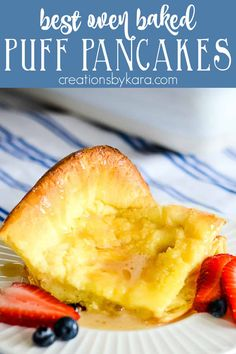 Best German Pancake recipe - Puffy golden pancakes baked in the oven are a family favorite. This version is extra yummy! #germanpancakes #dutchbabypancakes #ovenpancake #puffypancakes -from Creations by Kara Easy Food To Make, Quick Easy Meals, Chef Recipes, Dessert Recipes, Easy Recipes, Baked Pancakes, Fluffy Pancakes, Waffles, German Pancakes Recipe