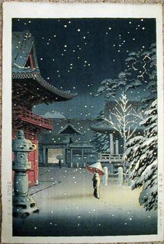 Tsuchiya_Koitsu-Tokyo_Views-Snow_at_Nezu_Shrine-00027529-030901-F12.jpg (809×1200)