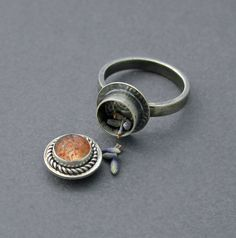 Confetti Sunstone Poison Ring Silver Locket Jewelry by caroleaxium, $90.00