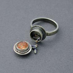 Confetti Sunstone Poison Ring Silver Locket Jewelry by caroleaxium, $90.00