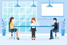 Social distancing in a business meeting . Animated Video Maker, Animated Gif, Building Illustration, Text Animation, Business Meeting, Marketing Training, Easy Video, Doodle Sketch, Return To Work