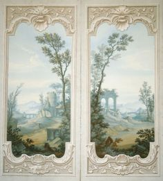 2nd Floor / In The Cristina  (For A Young Girl) Bedroom / Open Doors To Enter The Young Girl's Sitting Room, Etc. / Two (Push / Swing) French Handpainted Doors