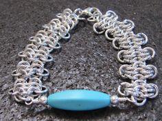 European 4-1 Chainmail Bracelet, Blue Howlite Bracelet, Aluminum Chainmaille Bracelet, Chain mail Jewelry by DragonandButterfly on Etsy