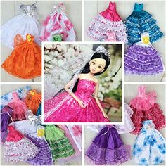 5pcs Barbie Handmade Fashion Wedding Party Gown Dresses for Girls Birthday Gift Xmas Gift -- You can find out more details at the link of the image.