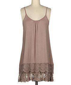 Loving this Coffee Lace-Trim Sleeveless Tunic on #zulily! #zulilyfinds