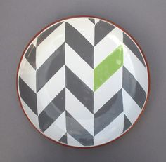 Gray Herringbone Plate with Green Accent