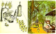 Ludwig Bemelmans Madeline. When I was very young his illustrations made me want to illustrate children's books some day.  Still love his combination of lineart and soft color and the way he  used negative space to make a statement on some pages but filled others with a rich background.