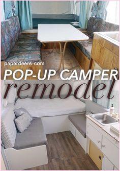 Pop Up Camper Makeover - Pop-up Camper Remodel: Part 3 — 1997 Coleman Taos – yours truly, sarah - Camper Hacks, Camper Diy, Popup Camper Remodel, Bus Camper, Camper Renovation, Camper Ideas, Small Pop Up Camper Remodel, Small Pop Up Campers, Jayco Pop Up Campers
