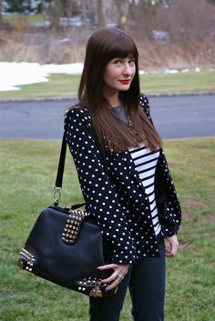#polkadots blazer and #stripes - one of my favorite combos! #fashion #ootd