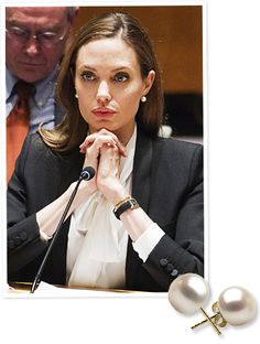 Power-Dressing Like Angelina Jolie: What to Wear When You Want People to Listen She's wearing Pearl Paradise Earrings