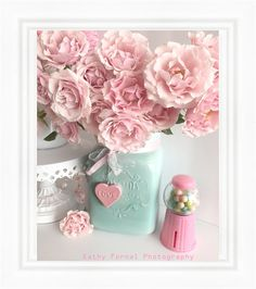 Shabby chic pink roses in aqua mason jar romantic cottage floral print home decor Flores Shabby Chic, Rosa Shabby Chic, Shabby Chic Flowers, Shabby Chic Wall Art, Shabby Chic Homes, Shabby Chic Decor, Shabby Chic Office, Shabby Bedroom, Chabby Chic