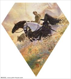 """FitzChivalry and the Fool, cover art by John Howe for """"Fool's Errand"""" by Robin Hobb"""