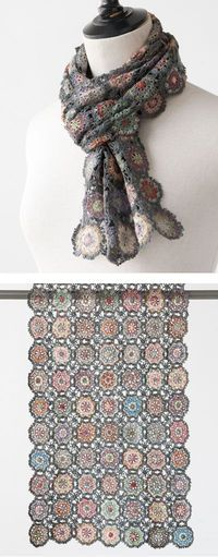 Sophie Digard crochet scarf - would love to make this into a light weight delicate throw Modern Crochet, Love Crochet, Crochet Granny, Crochet Motif, Beautiful Crochet, Diy Crochet, Crochet Shawl, Crochet Designs, Crochet Scarves