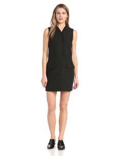 10 Crosby Derek Lam Women's Compact Outerwear Sleeveless Vest Dress, Black, 4