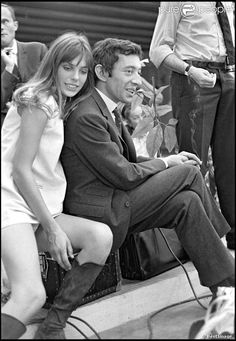 First meeting of Serge Gainsbourg and Jane Birkin on the set of Slogan (1968, Paris)