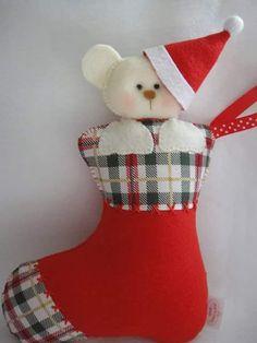 Feltro Fácil: Botinha/meia de natal em feltro; stocking felt, meia, natal, feltro, molde - parte 1