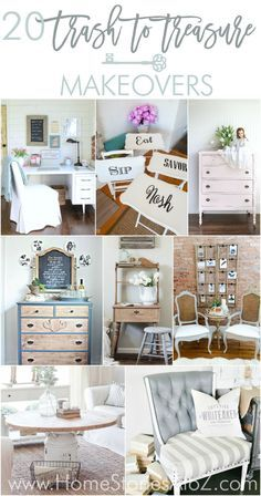 20 Trash to Treasure Makeovers. Great furniture makeovers from thrift store finds