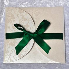Lily Pad Wedding Invitation with Emerald Green Ribbon