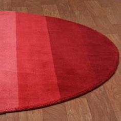 $139 Hand Tufted Red Stripe Wool Rug (6' x 6' Round)