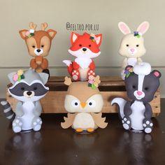 Woodland Animals Theme, Woodland Nursery Decor, Woodland Party, Diy Arts And Crafts, Clay Crafts, Felt Crafts, Fondant Animals, Clay Animals, Felt Animal Patterns
