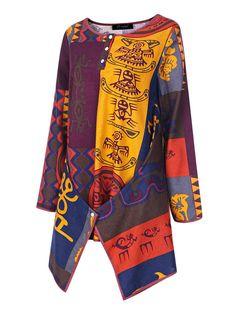 Ethnic Style Women Multi-color Printing Irregular Hem Blouse - Banggood Mobile