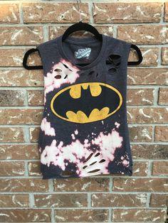 Batman grunge, bleached, distressed shirt