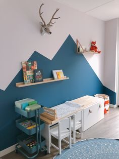 Ikea Toddler Room, Toddler And Baby Room, Boys Bedroom Decor, Baby Bedroom, Bedroom Wall, Room Color Schemes, Room Colors, Dinosaur Room Decor, Scandinavian Kids Rooms
