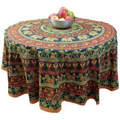 "Handmade 100% Cotton Elephant Mandala Floral 81"" Round Tablecloth Blue Orange Green Cream"