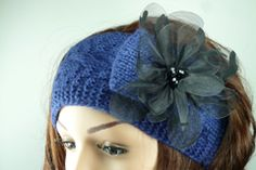 Navy Blue Wool Knitted Headband with Black Organza Flower