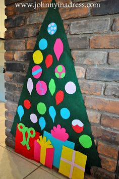 Felt Christmas Tree: Awesome for the little ones to play with instead of destroying the real tree. Could make different themes depending on the holiday (a pumpkin with different eyes, noses, and mouths or an easter egg with dots and stripes for decorations)!