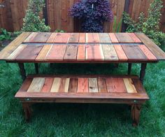 Here's our Reclaimed Wood Flat Pack Picnic Table With Planter (I know. It's a mouthful). There is a gutter running down the center below the tableto...