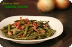 Southern Style Green Beans (3 slices bacon, 1 chopped onion, 1 cup chicken broth, 1/4 tsp salt, 1 1/2 lbs trimmed green beans)