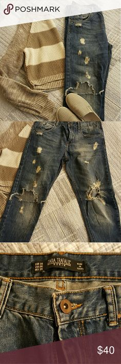 Zara distressed boyfriend jeans Like new condition, just too big for me Zara Jeans Boyfriend