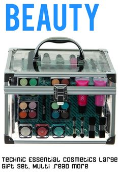 Be prepared for any occasion with this clear filled vanity case from Technic. With an easycarry handle and secure clasp, it's perfect for transporting all your new makeup, including lipsticks, nail varnish, eyeshadow compacts, lip liner pencils, eyeliner pencils, lip glosses, eye shimmer powders, a bronzer, Blushers and a carry compact. With a mirror and Double pencil sharpener, you'll be set ...